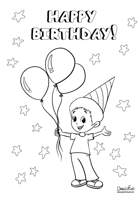 birthday boy coloring page