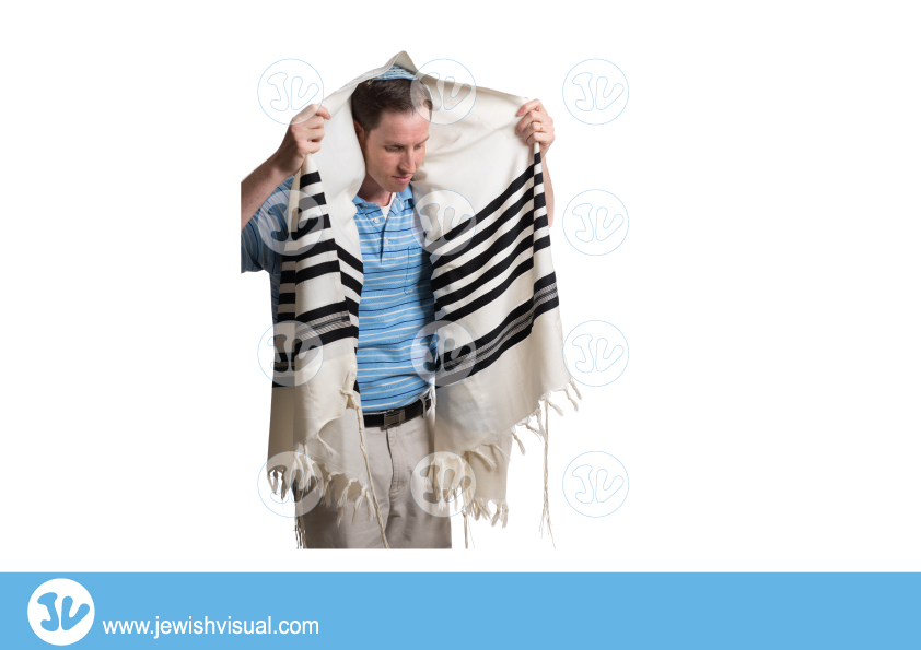 Man dawns prayer shawl – talit – איש מתעטף בטלית