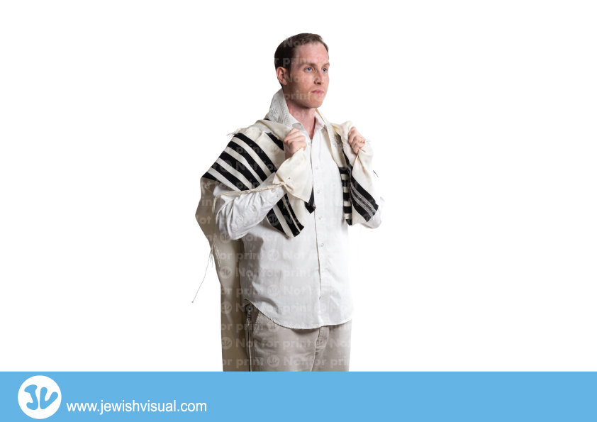 Man with Talit Praying -3- איש מתפלל עטוף בטלית