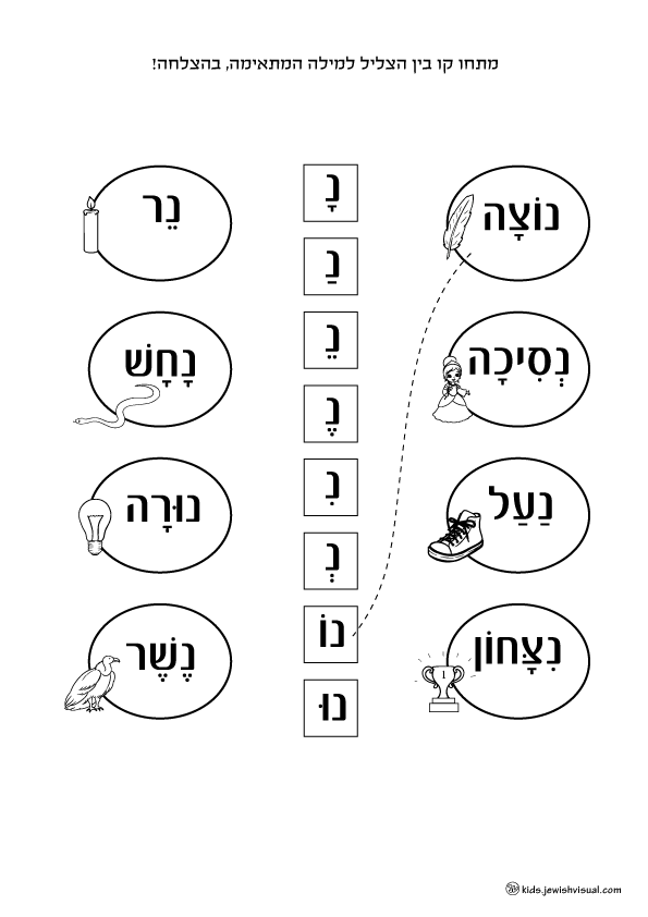The letter Nun worksheet – דף עבודה האות נ