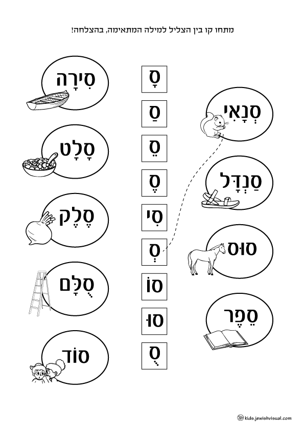 The letter Samech worksheet – דף עבודה האות ס