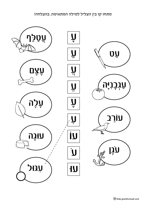 The letter Ayin worksheet – דף עבודה האות ע