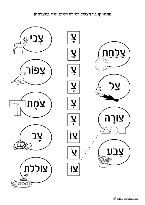 The letter Tsade worksheet – דף עבודה האות צ