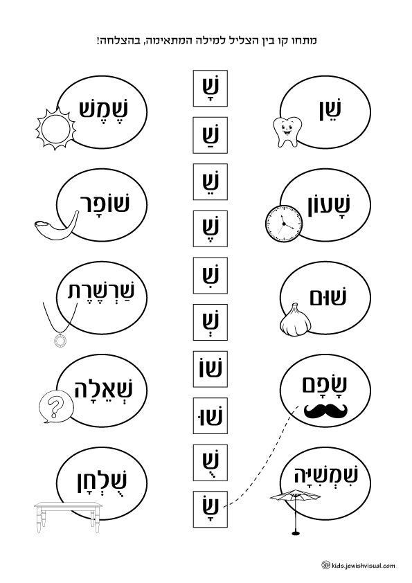 The letter Shin worksheet – דף עבודה האות ש