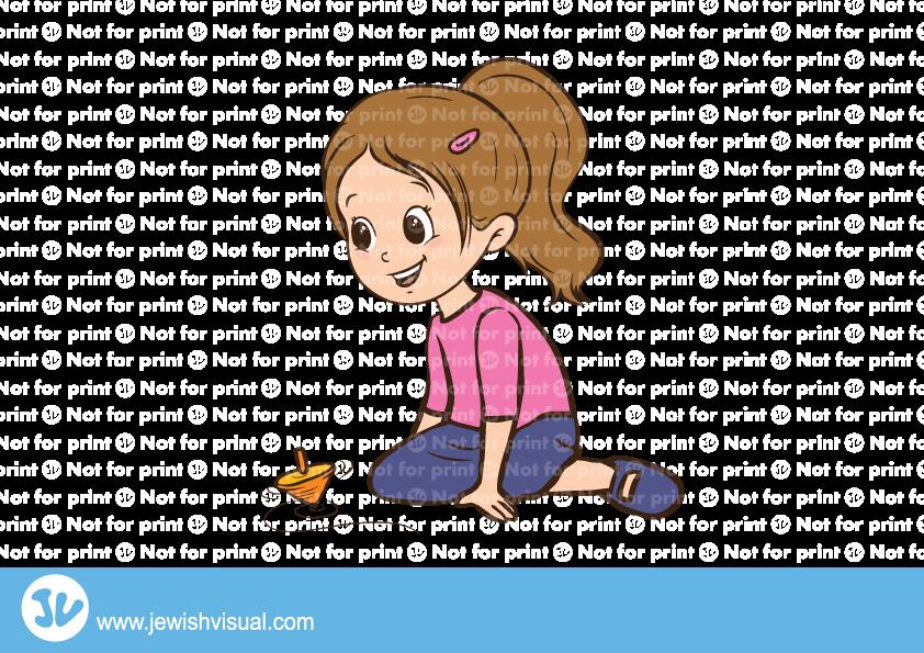 Girl playing with dreidel – ילדה משחקת בסביבון