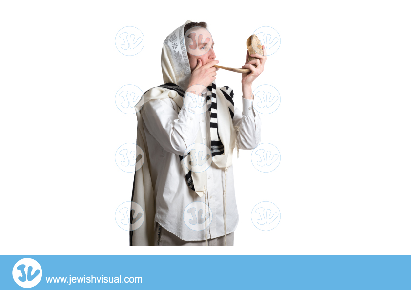 Man Blowing Shofar – 2 – איש תוקע בשופר