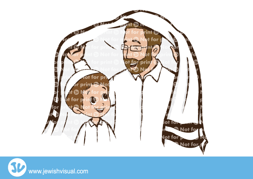Father covering son with Tallit – אב מכסה את בנו בטלית