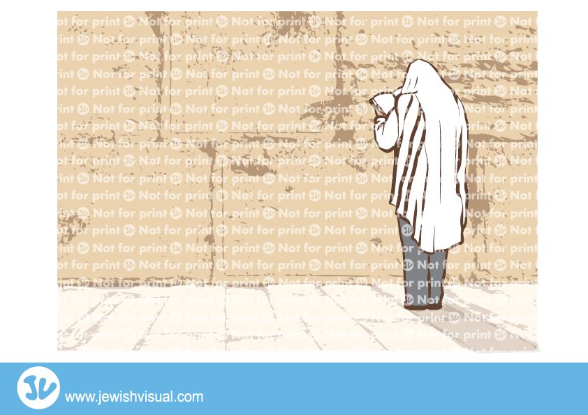Man praying at the Western wall – איש מתפלל בכותל המערבי