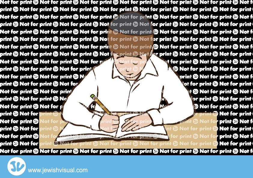 Boy writes in a notebook – ילד כותב במחברת