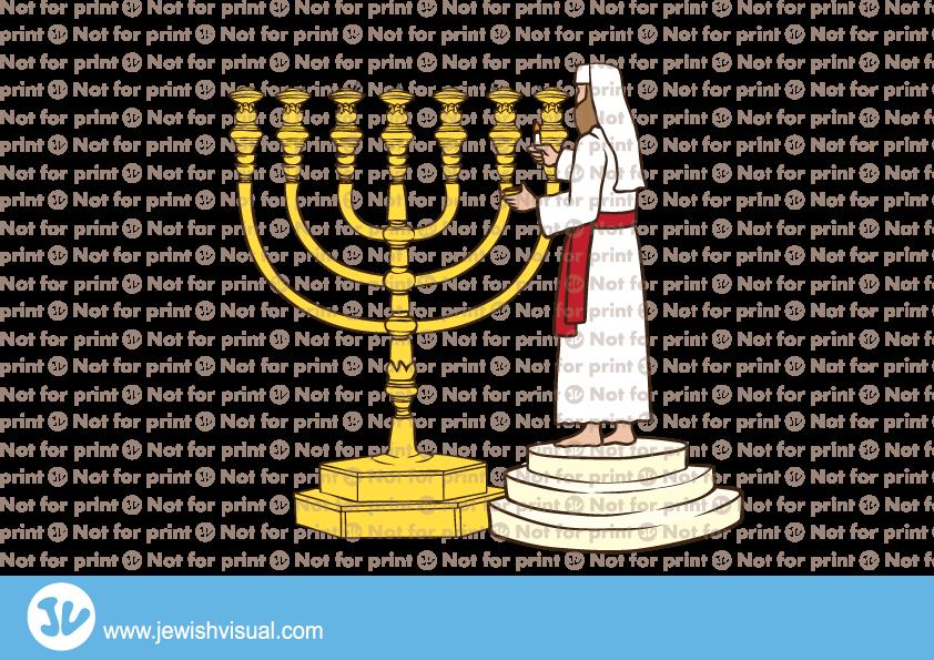 Lighting the Menorah – כהן מדליק את המנורה