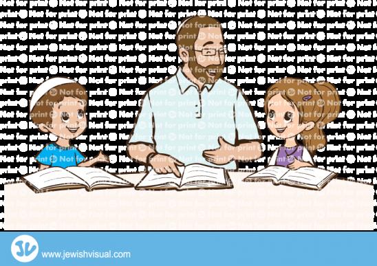 אבא לומד תורה עם הילדים