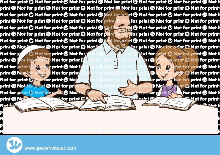 Father learning torah with children – אבא לומד תורה עם הילדים