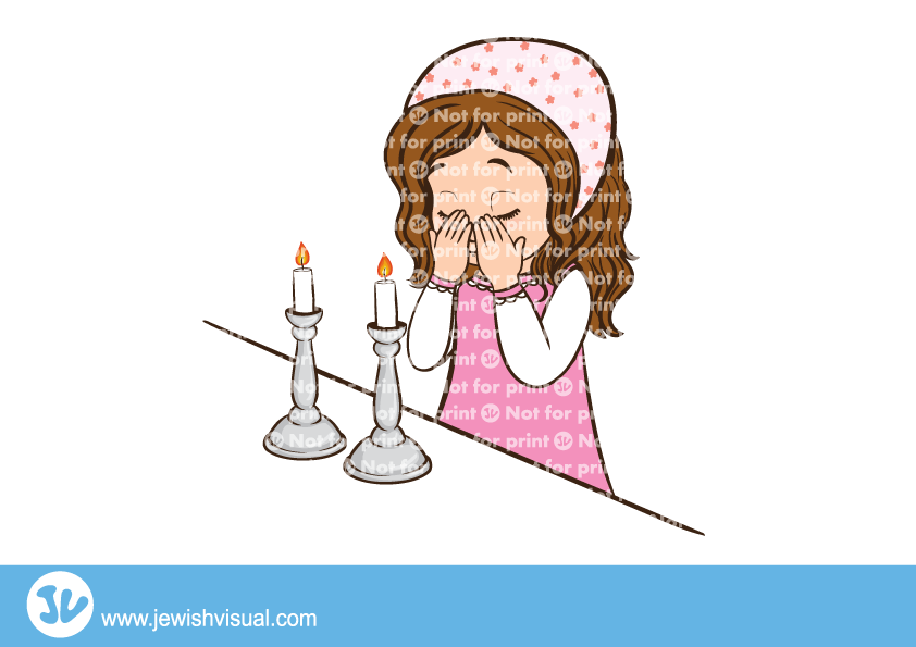 Girl lighting Shabbat candles – ילדה מדליקה נרות שבת