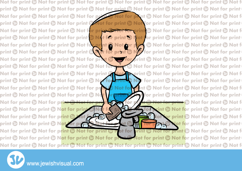 Boy Washing Dishes – ילד שוטף כלים