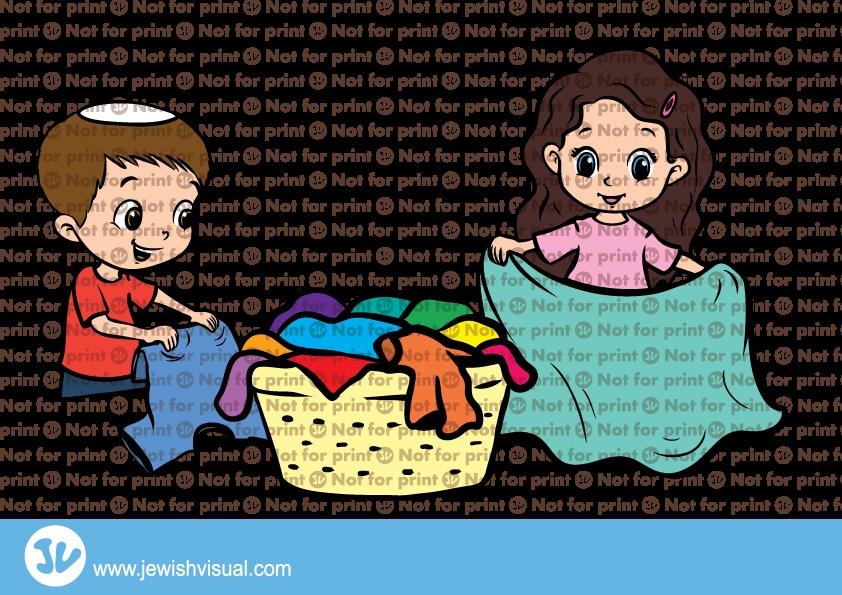 Kids Folding Laundry – ילדים מקפלים כביסה